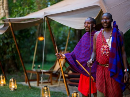 Maasai men, safari, Sentinel Mara Camp, Maasai Mara National Reserve, Kenya