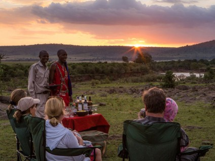 sundowner, safari, Sentinel Mara Camp, Maasai Mara National Reserve, Kenya