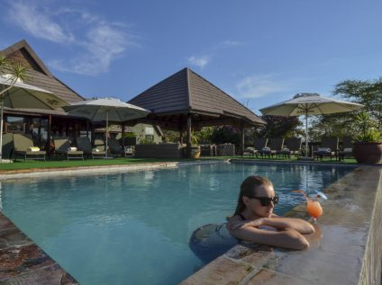 Relaxing in the pool at Nkorho Bush Lodge in Sabi Sands, Greater Kruger